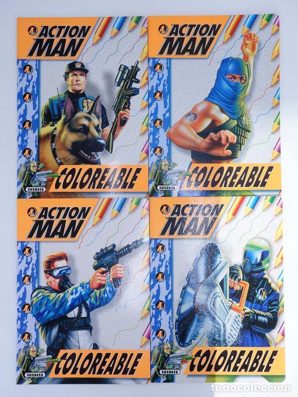 ACTION MAN COLOREABLE. LOTE DE 4 COLECCION COMPLETA SUSAETA, 1998. OFRT (Juguetes - Figuras de Acción - Action Man)