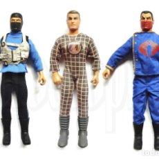 Action man: LOTE DE 3 MUÑECOS DE ACCIÓN ACTION MAN GI JOE SU ROPA ORIGINAL SNAKE EYES HASBRO 1992 - 1995. Lote 125137699