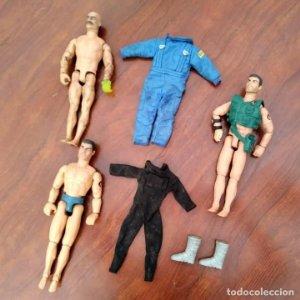 Lote de 3 Action Man + traje buzo submarinista + traje mecánico o astronauta + zapatos 1992-1996
