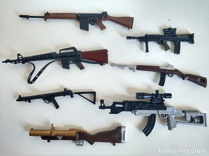 LOTE DE 7 RIFLES, AMETRALLADORAS, ARMAS ACTION MAN PALITOY - ANTIGUO (Juguetes - Figuras de Acción - Action Man)