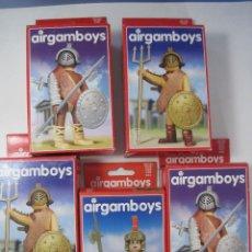 Airgam Boys: LOTE DE 5 AIRGAMBOYS: 2 JEFES DE GLADIADORES, 2 GLADIADORES NEGROS Y UN SOLDADO ROMANO NUEVOS. Lote 89001268
