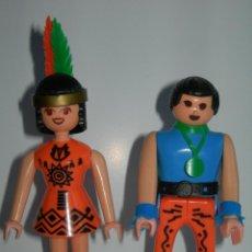 Airgam Boys: PAREJA DE INDIOS AIRGAMBOYS Y MISS AIRGAM ORIGINALES DE LOS AÑOS 70/80 - AIRGAM BOYS INDIO E INDIA -. Lote 165331930