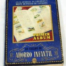Coleccionismo Álbum: ALBUM SELLOS AHORRO INFANTIL CAJA GENERAL AHORROS Y MONTE DE PIEDAD ZARAGOZA AÑOS 40 COMPLETO. Lote 9428438