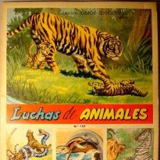 Coleccionismo Álbum: LUCHAS DE ANIMALES. COLECCIÓN LIBROS EDUCATIVOS. FHER. 1958. 28 PAGINAS CON 30 CROMOS. COMPLETO.. Lote 27324701