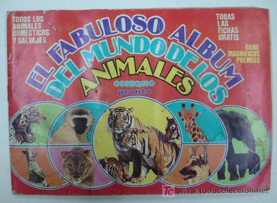 EL FABULOSO ALBUM DEL MUNDO DE LOS ANIMALES. TODOS LOS ANIMALES DOMESTICOS Y SALVAJES.13,5 X 19,5 CM (Coleccionismo - Cromos y Álbumes - Álbumes Completos)