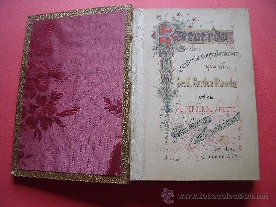 Coleccionismo Álbum: ALBUM CON 36 GRABADOS AL ACERO.-RECUERDO DEL PERSONAL DEDICA A DON CARLOS PINEDA.-AÑO 1889. - Foto 2 - 37614564