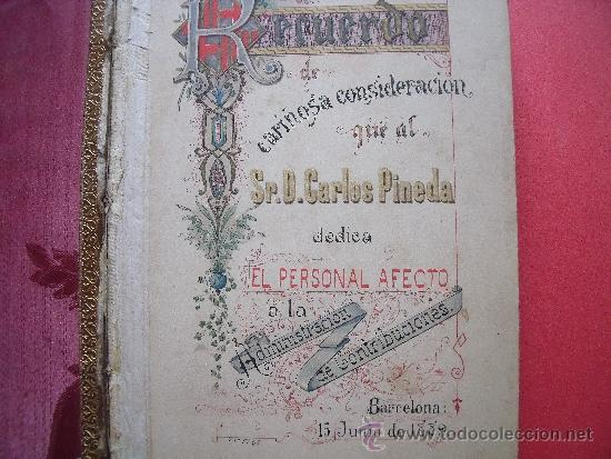 Coleccionismo Álbum: ALBUM CON 36 GRABADOS AL ACERO.-RECUERDO DEL PERSONAL DEDICA A DON CARLOS PINEDA.-AÑO 1889. - Foto 3 - 37614564
