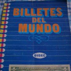 Coleccionismo Álbum: ALBUM DE CROMOS BILLETES DEL MUNDO COMPLETO, FABRICANTE DIDEC, AÑOS 80. Lote 42613979