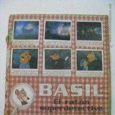 Coleccionismo Álbum: ALBUM CROMOS COMPLETO DE BASIL EL RATÓN SUPERDETECTIVE, DE PANINI 1986, FALTA PORTADA. Lote 45923088