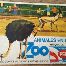 Coleccionismo Álbum: ALBUM ANIMALES EN EL ZOO - BARRITAS Y BISCOTTES PEKI - AÑOS 70 (COMPLETO). Lote 49414556