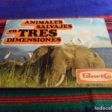 Coleccionismo Álbum: ANIMALES SALVAJES EN TRES DIMENSIONES COMPLETO 50 CROMOS. PANRICO 1974. BUEN ESTADO. RARO.. Lote 85707940