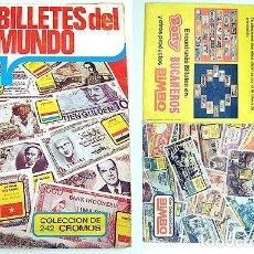 Coleccionismo Álbum: 2 ALBUM 1974 BILLETES DEL MUNDO ESTE COMPLETO 242 CROMOS BILLETE UN DOLAR DIFICIL. Y BILLETERO BIMBO. Lote 103971711