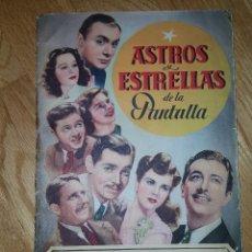 Coleccionismo Álbum: ALBUM ASTROS Y ESTRELLAS DE LA PANTALLA, CROMOS AS SERIE A, COMPLETO ,BRUGUERA 1944. Lote 111670611