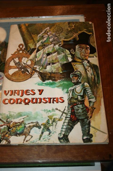 ALBUM COMPLETO VIAJES Y CONQUISTADORES AÑO 1976 EDITORIAL RUIZ ROMERO. (Coleccionismo - Cromos y Álbumes - Álbumes Completos)