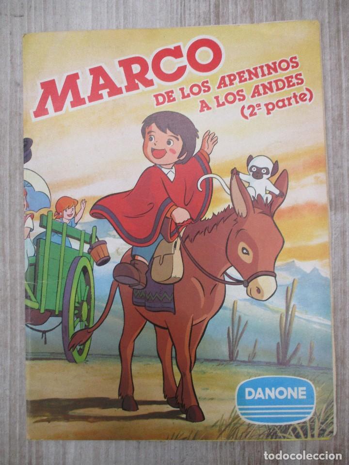 ALBUM CROMOS COMPLETO ORIGINAL MARCOS DE LOS APENINOS A LOS ANDES 2ª PARTE DANONE (Coleccionismo - Cromos y Álbumes - Álbumes Completos)