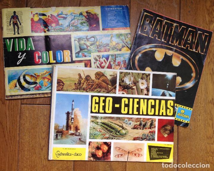 LOTE DE 3 ALBUMES CROMOS ANTIGUOS , GEO CIENCIAS AÑOS 60 , BATMAN Y VIDA Y COLOR (Coleccionismo - Cromos y Álbumes - Álbumes Completos)
