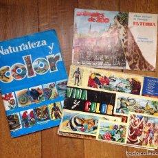 Coleccionismo Álbum: LOTE DE 3 ALBUMES COMPLETOS ANTIGUOS , VIDA Y COLOR - NATURALEZA Y COLOR Y ANIMALES DE ZOO. Lote 134434286