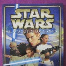 Coleccionismo Álbum: ALBUM CROMOS STAR WARS, EL ATAQUE DE LOS CLONES, COMPLETO MAS POSTER, 2002, MERLIN STICKERS, . Lote 140651174