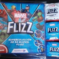 Coleccionismo Álbum: ALBUM COMPLETO MARVEL FLIZZ CARREFOUR 54 TAZOS + REGALO. Lote 147230960