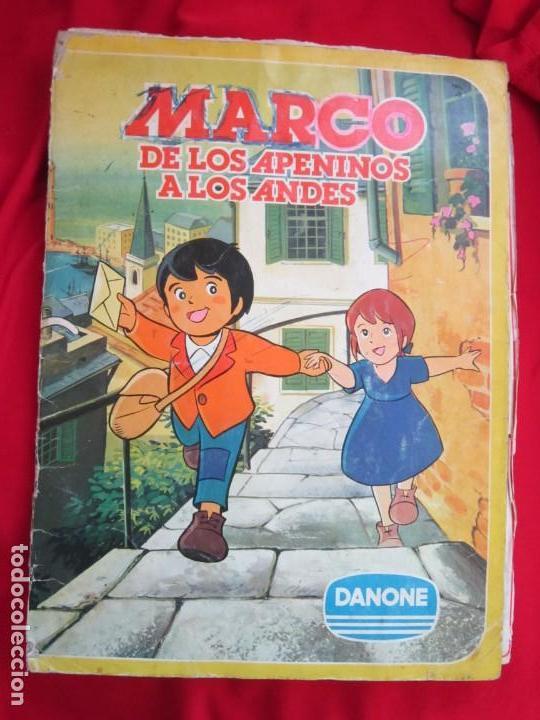 ALBUM COMPLETO MARCO. DE LOS APENINOS A LOS ANDES. 1ª PARTE DANONE 1976. 84 CROMOS (Coleccionismo - Cromos y Álbumes - Álbumes Completos)