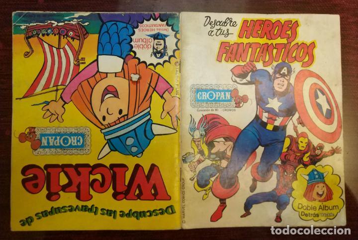 ALBUM CROMOS DESCUBRE A TUS HEROES FANTASTICOS + LAS TRAVESURAS DE WICKIE (COMPLETO) (CROPAN 1975) (Coleccionismo - Cromos y Álbumes - Álbumes Completos)