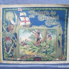 Coleccionismo Álbum: HISTORIA DE CRISTOBAL COLON. CHOCOLATE JUNCOSA. ALBUM COMPLETO + 14 CROMOS. Lote 155613570