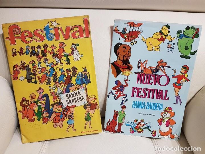 2 ALBUMES COMPLETOS DE CROMOS - FESTIVAL Y NUEVO FESTIVAL DE HANNA-BARBERA FHER-MUY BUEN ESTADO (Coleccionismo - Cromos y Álbumes - Álbumes Completos)