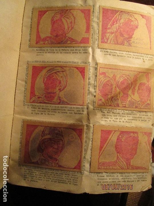 Coleccionismo Álbum: raro ANTIGUO ALBUM DE PIRATAS casi COMPLETO SANDOKAN EL TIGRE DE MALASIA cromos en un solo color - Foto 10 - 161587246