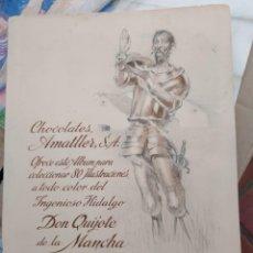 Coleccionismo Álbum: ALBUM DON QUIJOTE DE LA MANCHA DE CHOCOLATES AMATLLER ALBUM DON QUIJOTE DE LA MANCHA COMPLETO. Lote 162488978