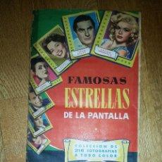 Coleccionismo Álbum: ALBUM FAMOSAS ESTRELLAS DE LA PANTALLA - BRUGUERA - 216 CROMOS - COMPLETO AÑOS 50-60 - RARO. Lote 162672670