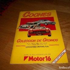 Coleccionismo Álbum: BUEN ESTADO. COCHES COLECCIÓN DE CROMOS COMPLETO 162 CROMOS EDICIONES UNIDAS MOTOR 16 1986 BUEN ESTA. Lote 178023784
