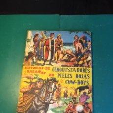 Coleccionismo Álbum: CONQUISTADORES, PIELES ROJAS Y COW BOYS COMPLETO. Lote 167748744