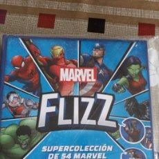 Coleccionismo Álbum: MARVEL FLIZZ ALBUM Y 54 TAZOS COMPLETA SPIDERMAN-THOR-IRON MAN-HULK ETC CARREFOUR 2018. Lote 151203662