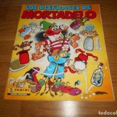 Coleccionismo Álbum: LOS DISFRACES DE MORTADELO COMPLETO PANINI CROMOS ADHESIVOS COMPLETO. Lote 173449444