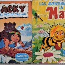 Coleccionismo Álbum: DOS ALBUMES, LAS AVENTURAS DE LA ABEJA MAYA (COMPLETO) Y JACKY EL OSO DE TALLAC (FALTAN 6 CROMOS). Lote 176905782