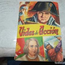 Coleccionismo Álbum: MUY RARO ALBUM DE CROMOS VIDAS DE ACCION COMPLETO FHER BILBAO 1958 MIREN FOTOS . Lote 180137036