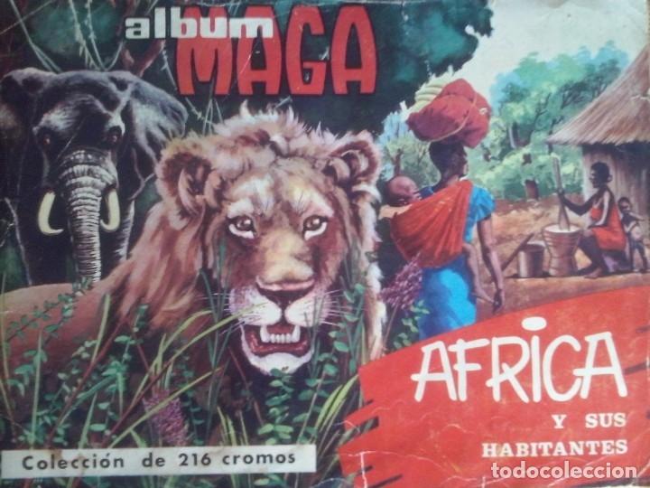 ALBUM MAGA 'AFRICA Y SUS HABITANTES' 1965 COMPLETO. FALTA CONTRAPORTADA (Coleccionismo - Cromos y Álbumes - Álbumes Completos)