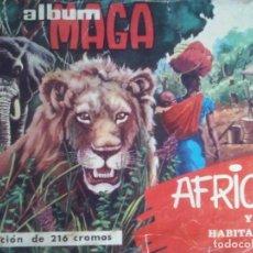 Coleccionismo Álbum: ALBUM MAGA 'AFRICA Y SUS HABITANTES' 1965 COMPLETO. FALTA CONTRAPORTADA. Lote 180426471
