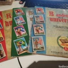 Coleccionismo Álbum: LOTE DE TRES ALBUMES . RAZAS HUMANAS Y DOS BANDERAS DEL UNIVERSO DIFERENTES. Lote 196670328