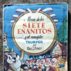 Coleccionismo Álbum: ALBUM DE CROMOS LOS SIETE ENANITOS Y EL CONEJITO THUMPER (COMPLETO) - WALT DISNEY (BRUGUERA AÑOS 40). Lote 222909077