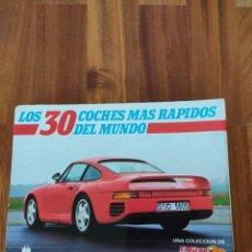 Coleccionismo Álbum: ORIGINAL CLASIFICADOR DE ANILLAS CON FICHAS DE LOS 30 COCHES MAS RAPIDOS DEL MUNDO. Lote 234512705