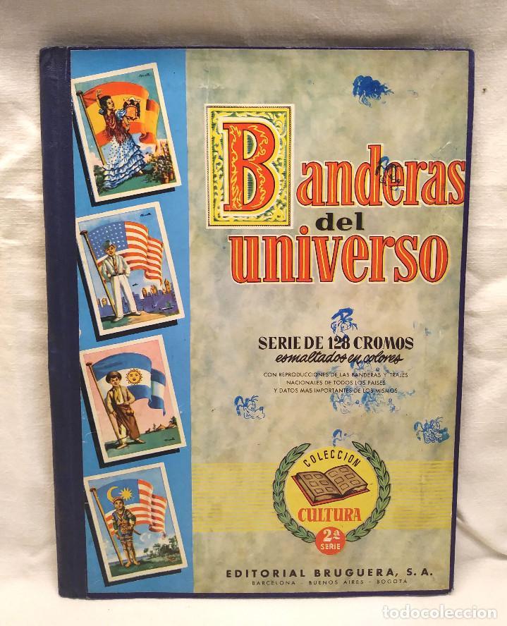 BANDERAS DEL UNIVERSO EDITORIAL BRUGUERA AÑO 1956, ENCUADERNADO TAPA DURA LOMO DE TELA (Coleccionismo - Cromos y Álbumes - Álbumes Completos)