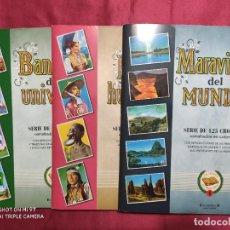 Coleccionismo Álbum: 3 ALBUMES COMPLETOS BANDERAS DEL UNIVERSO. RAZAS HUMANAS, MARAVILLAS DEL MUNDO CROMOS SIN PEGAR. Lote 285484203