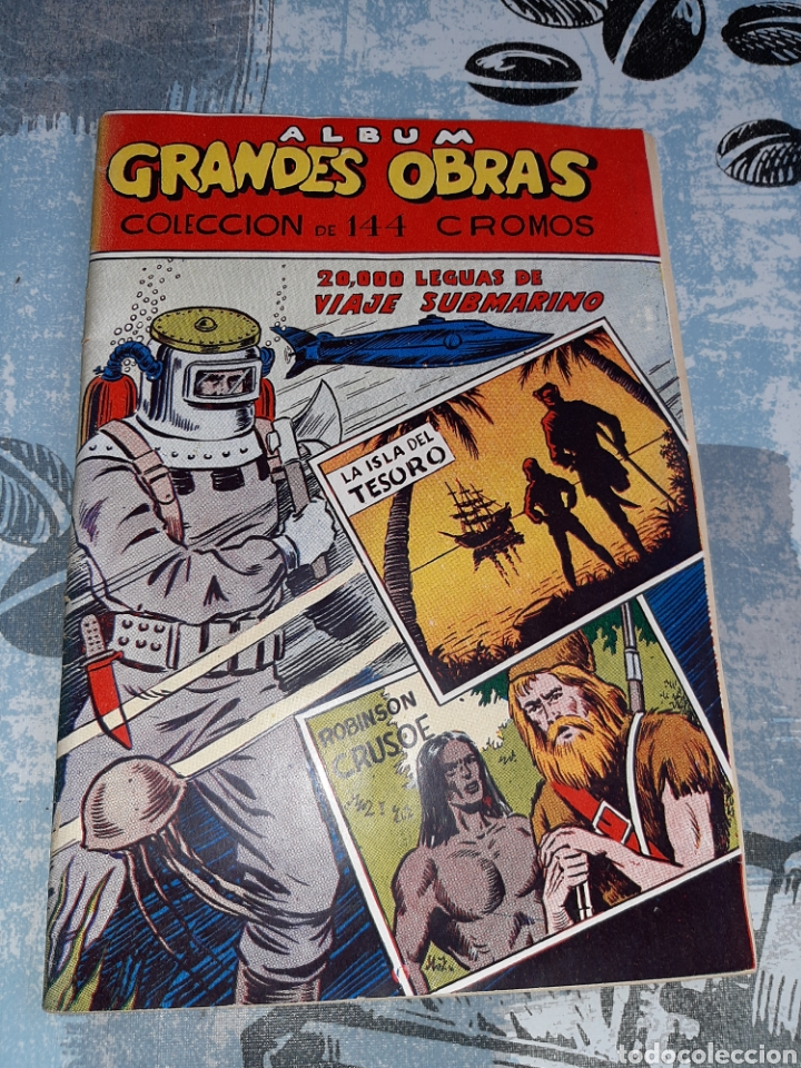 ÁLBUM GRANDES OBRAS, 20.000 LEGUAS DE VIAJE SUBMARINO , LA ISLA DEL TESORO, ROBINSON CRUSOE (Coleccionismo - Cromos y Álbumes - Álbumes Completos)