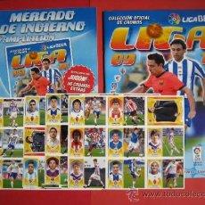 Álbum de fútbol completo: ESTE 09/10 MERCADO DE INVIERNO, HOJAS Y 36 CROMOS, MAS REGALO ALBUM PLANCHA 2009/2010. Lote 135625377