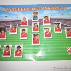 Álbum de fútbol completo: POSTER MI SELECCION NACIONAL- MAS TRES CROMOS SUELTOS- PUBLICIDAD CHORIZO REVILLA - (ALB -75). Lote 41514478