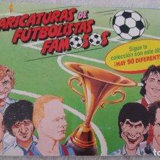 Álbum de fútbol completo: 90/91 BOLLYCAO PANRICO ALBUM CARICATURAS FUTBOLISTAS FAMOSOS COMPLETO A FALTA DE 2 CROMOS. LEER. Lote 94608343