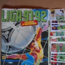 Álbum de fútbol completo: MAGNIFICO ALBUM ESTE 91/92 COMPLETO CON FICHAJES Y 60 CROMOS EXTRA NUNCA PEGADOS. Lote 103709007