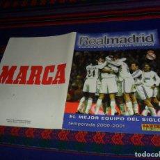 Álbum de fútbol completo: MARCA. COMPLETO REAL MADRID COLECCIÓN OFICIAL CROMOS 2000 2001 EL MEJOR EQUIPO DEL SIGLO PANINI RARO. Lote 106771055