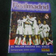 Álbum de fútbol completo: ALBUM DE CROMOS REAL MADRID OFICIAL EL MEJOR EQUIPO DEL SIGLO 2000-2001 PANINI COMPLETO CROMO. Lote 124431383